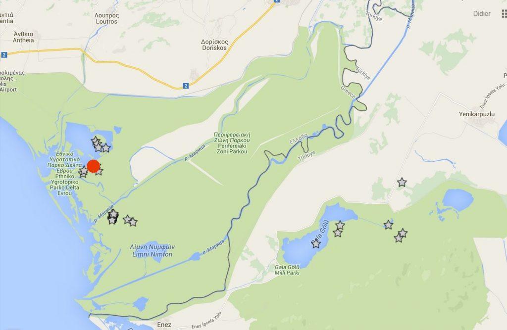 Localisation (étoiles) des sites de dortoir du Cygne de Bewick 854X équipé d'un émetteur GPS; le point rouge indique le dortoir des marais de Dimitriades, (carte Nicolas Pierrard).